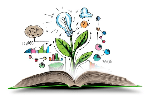 3d book with hand drawn leaf with lightbulb, graphs and thinking bubble