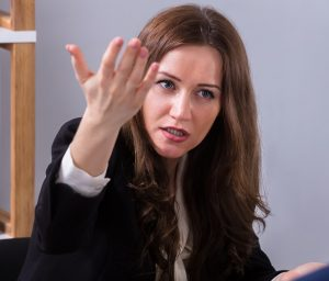 Frustrated woman spouting off